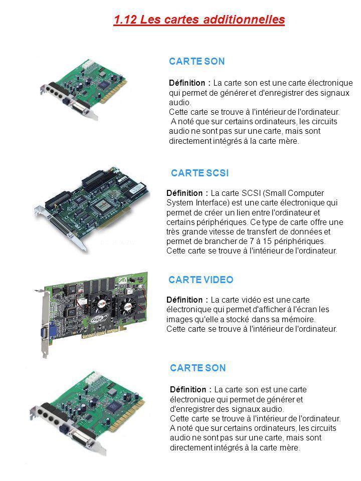 CARTE SON Définition : La carte son est une carte électronique qui permet de générer et d'enregistrer des signaux audio. Cette carte se trouve à l'int