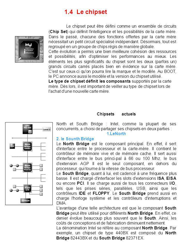 1.4 Le chipset Le chipset peut être défini comme un ensemble de circuits (Chip Set) qui définit l'intelligence et les possibilités de la carte mère. D