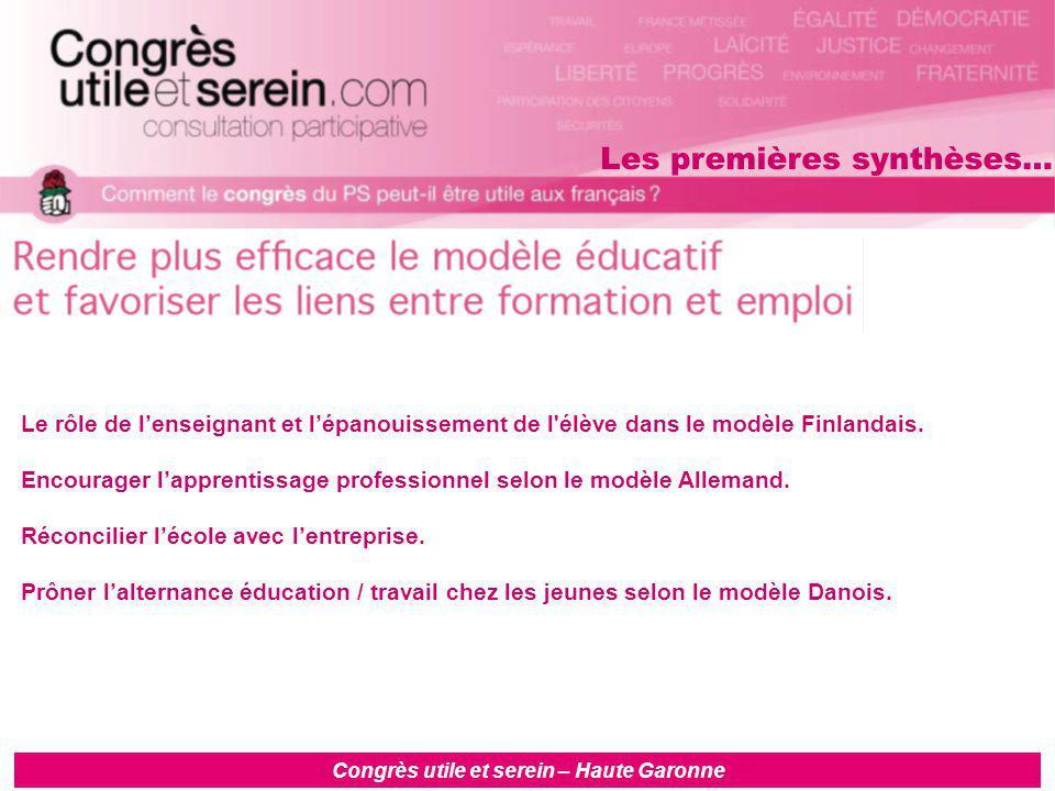 Congrès utile et serein – Haute Garonne Le rôle de l'enseignant et l'épanouissement de l élève dans le modèle Finlandais.