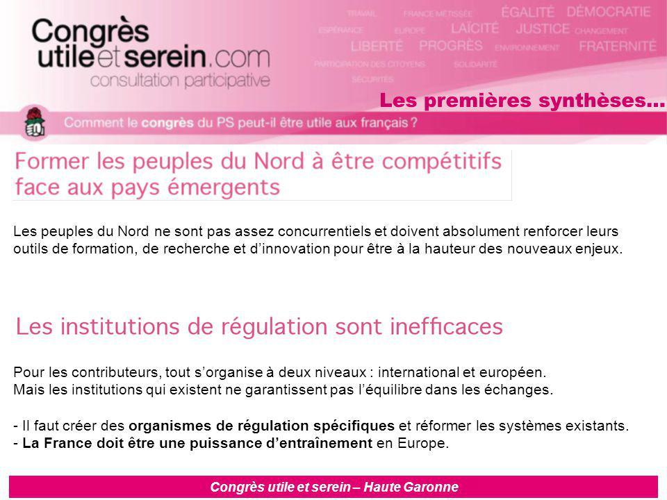 Congrès utile et serein – Haute Garonne Les peuples du Nord ne sont pas assez concurrentiels et doivent absolument renforcer leurs outils de formation, de recherche et d'innovation pour être à la hauteur des nouveaux enjeux.