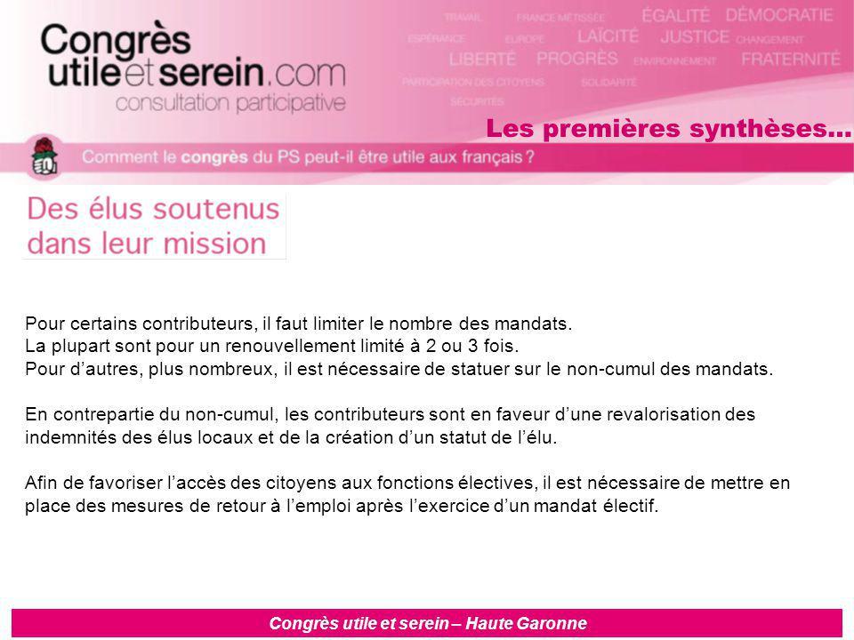 Congrès utile et serein – Haute Garonne Pour certains contributeurs, il faut limiter le nombre des mandats.