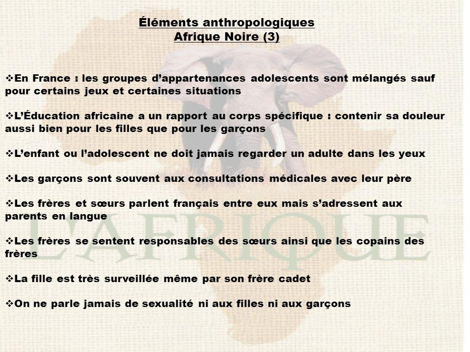 Éléments anthropologiques Afrique Noire (3)  En France : les groupes d'appartenances adolescents sont mélangés sauf pour certains jeux et certaines s