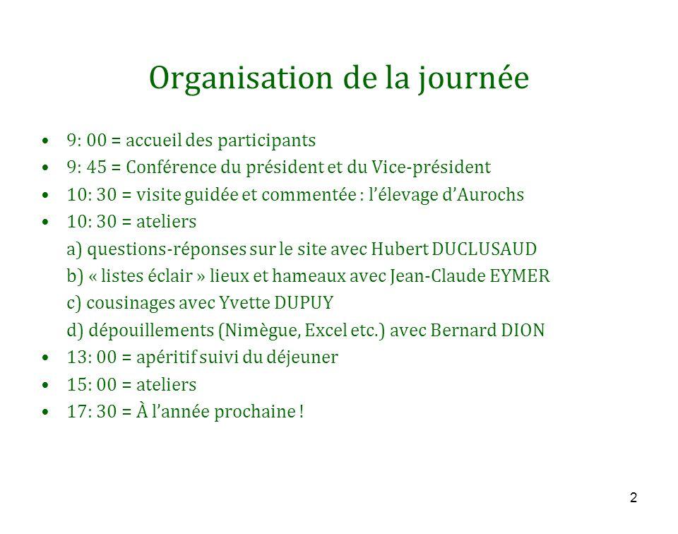 2 Organisation de la journée 9: 00 = accueil des participants 9: 45 = Conférence du président et du Vice-président 10: 30 = visite guidée et commentée