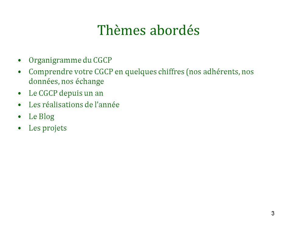3 Thèmes abordés Organigramme du CGCP Comprendre votre CGCP en quelques chiffres (nos adhérents, nos données, nos échange Le CGCP depuis un an Les réalisations de l'année Le Blog Les projets