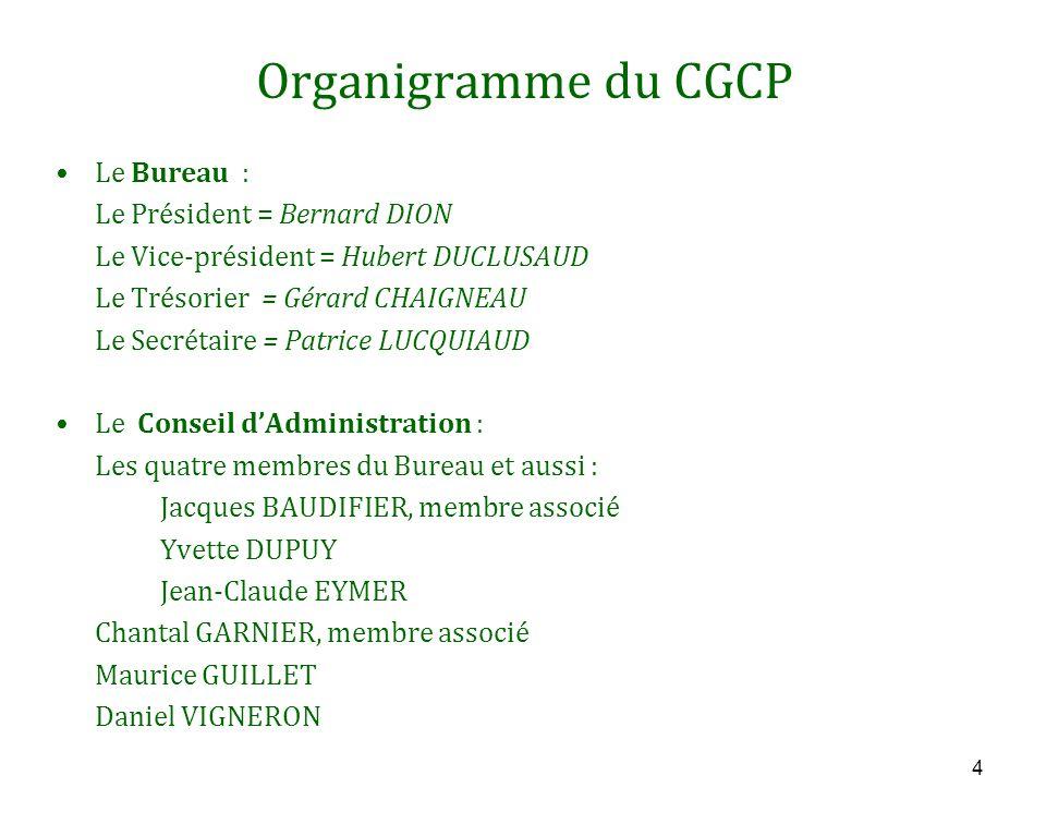 4 Organigramme du CGCP Le Bureau : Le Président = Bernard DION Le Vice-président = Hubert DUCLUSAUD Le Trésorier = Gérard CHAIGNEAU Le Secrétaire = Pa