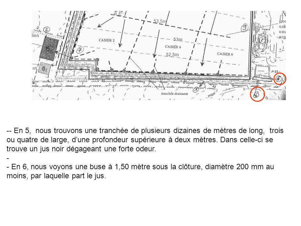 -- En 5, nous trouvons une tranchée de plusieurs dizaines de mètres de long, trois ou quatre de large, d'une profondeur supérieure à deux mètres. Dans