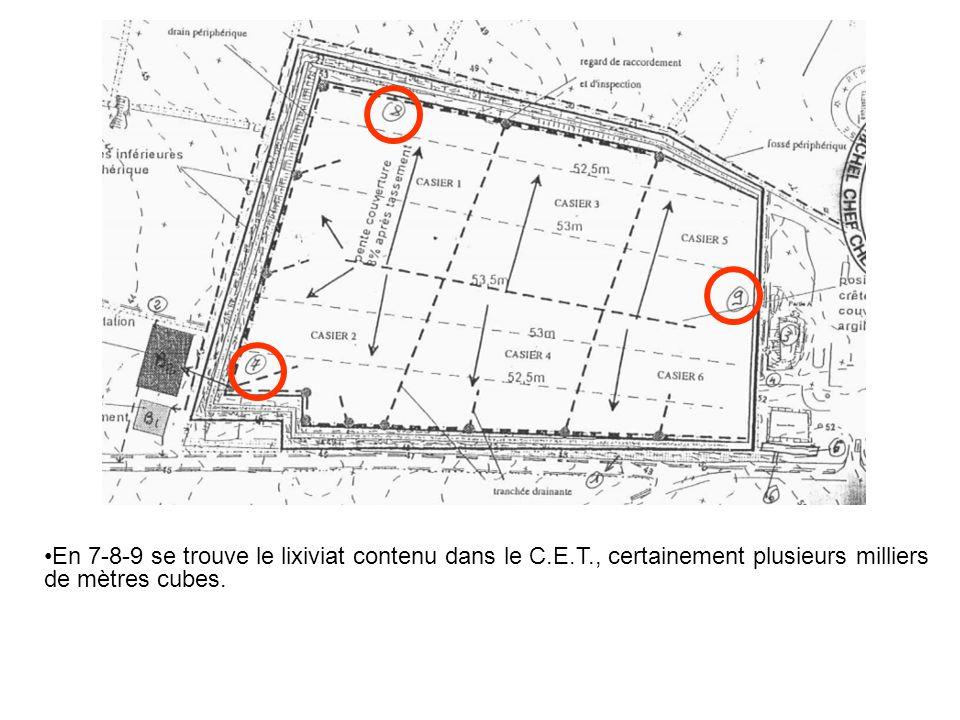 En 7-8-9 se trouve le lixiviat contenu dans le C.E.T., certainement plusieurs milliers de mètres cubes.
