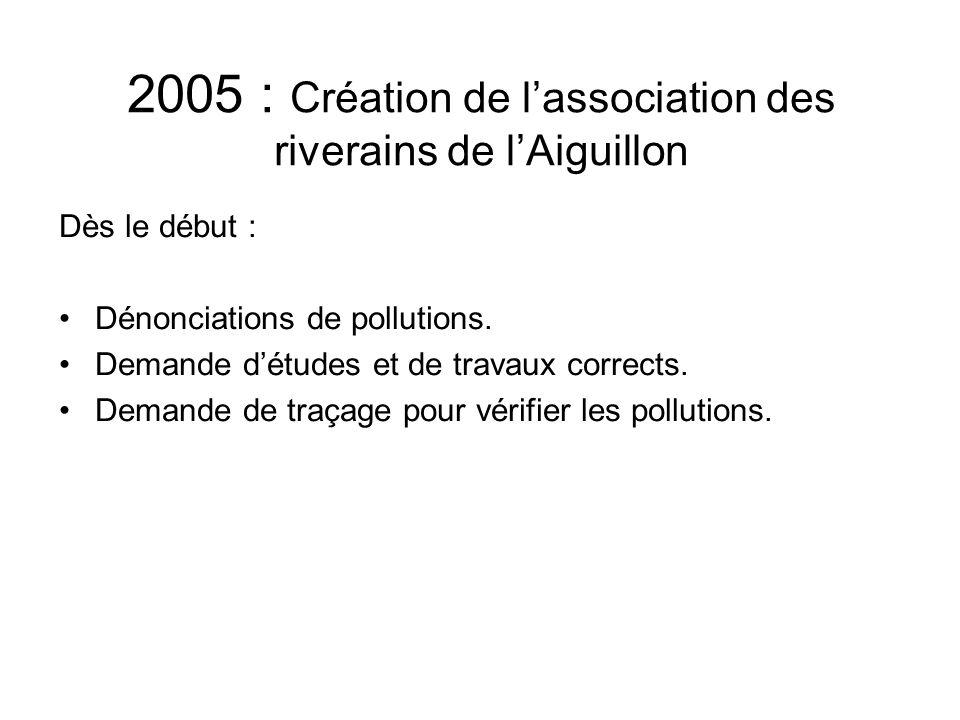 2005 : Création de l'association des riverains de l'Aiguillon Dès le début : Dénonciations de pollutions. Demande d'études et de travaux corrects. Dem