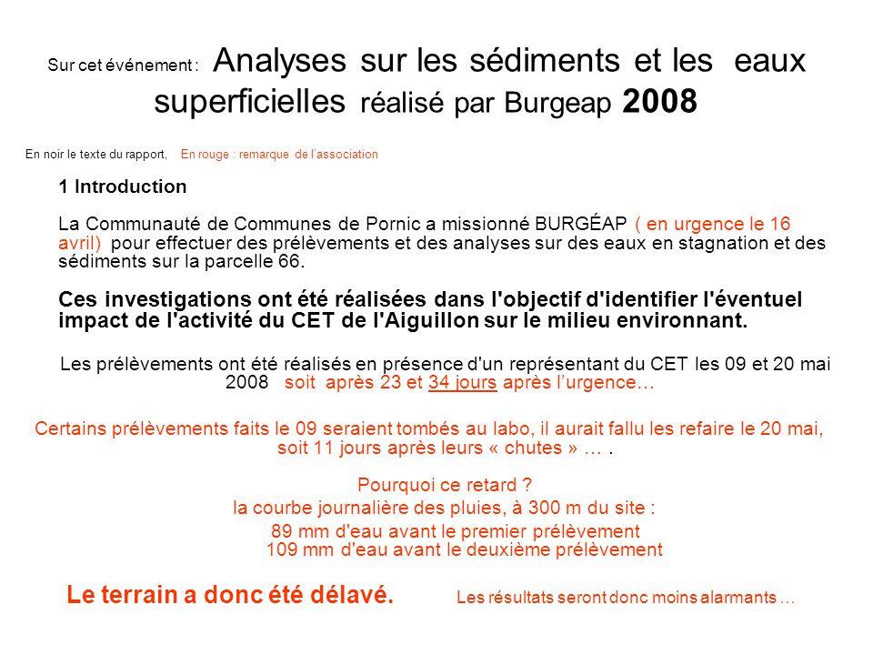 Sur cet événement : Analyses sur les sédiments et les eaux superficielles réalisé par Burgeap 2008 1 Introduction La Communauté de Communes de Pornic