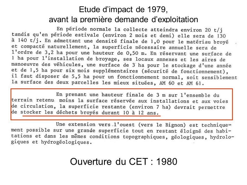 Etude d'impact de 1979, avant la première demande d'exploitation Ouverture du CET : 1980