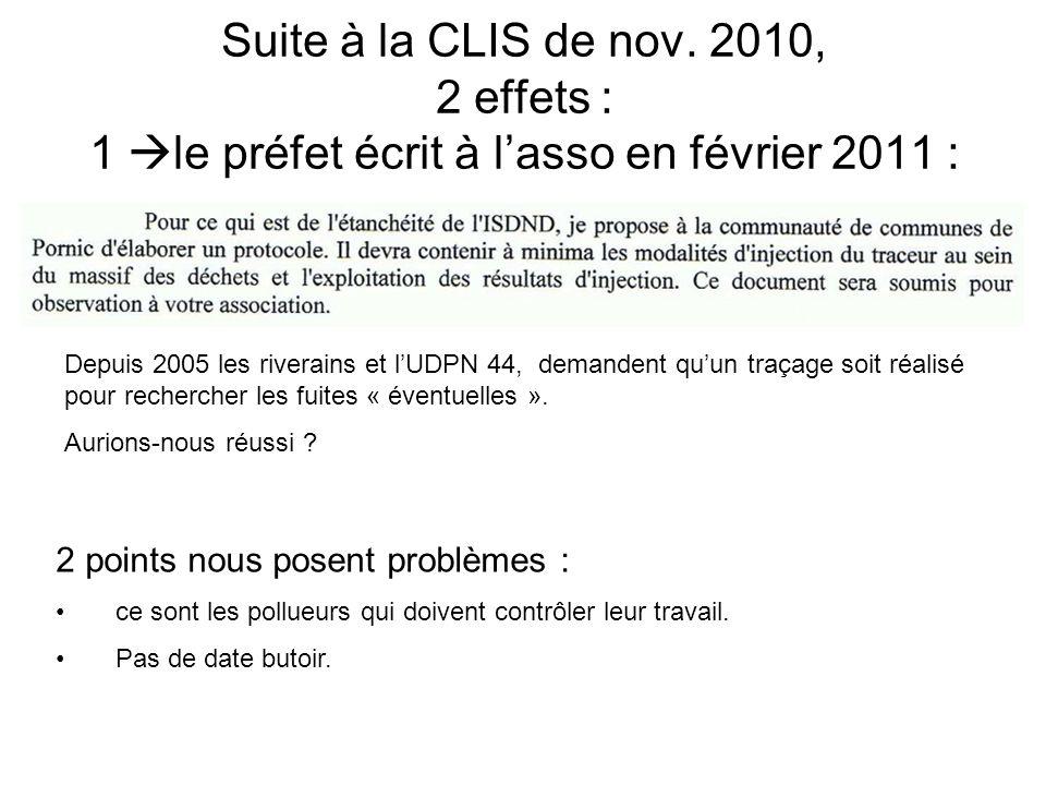 Suite à la CLIS de nov. 2010, 2 effets : 1  le préfet écrit à l'asso en février 2011 : Depuis 2005 les riverains et l'UDPN 44, demandent qu'un traçag