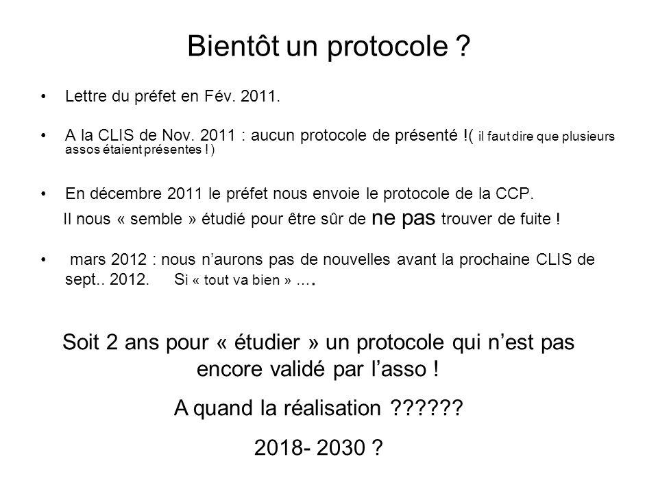Bientôt un protocole ? Lettre du préfet en Fév. 2011. A la CLIS de Nov. 2011 : aucun protocole de présenté !( il faut dire que plusieurs assos étaient