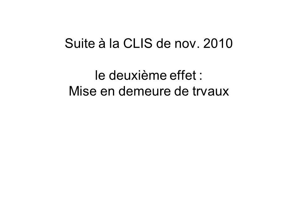 Suite à la CLIS de nov. 2010 le deuxième effet : Mise en demeure de trvaux