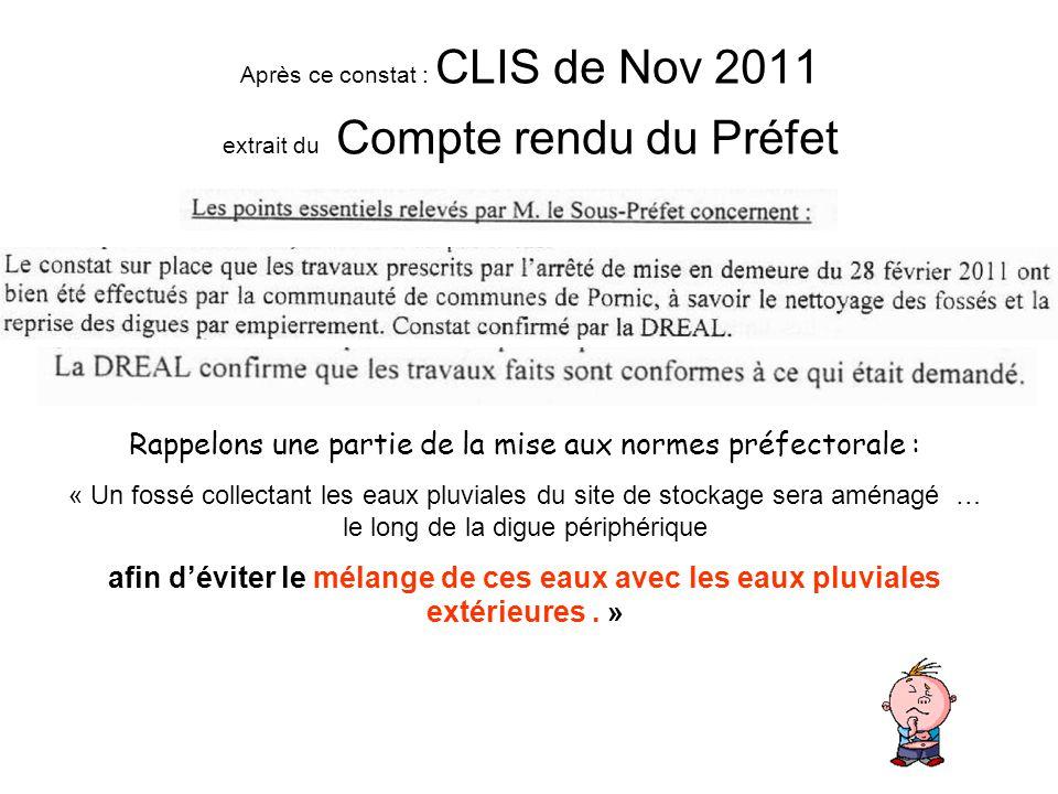 Après ce constat : CLIS de Nov 2011 extrait du Compte rendu du Préfet Rappelons une partie de la mise aux normes préfectorale : « Un fossé collectant