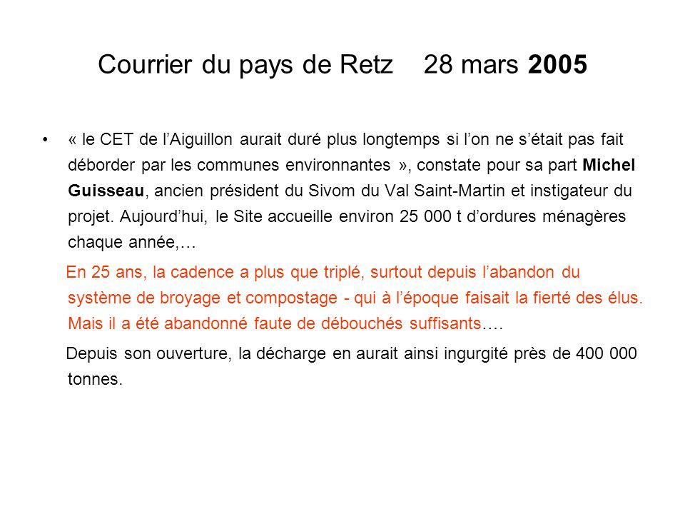 Courrier du pays de Retz 28 mars 2005 « le CET de l'Aiguillon aurait duré plus longtemps si l'on ne s'était pas fait déborder par les communes environ