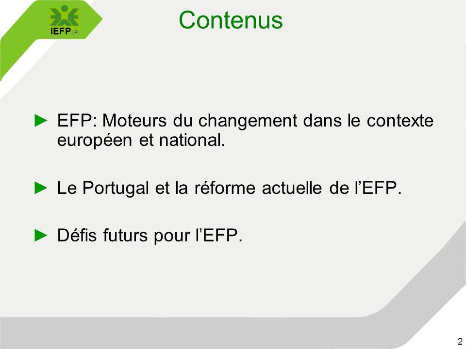 IEFP I.P. 2 Contenus ►EFP: Moteurs du changement dans le contexte européen et national.