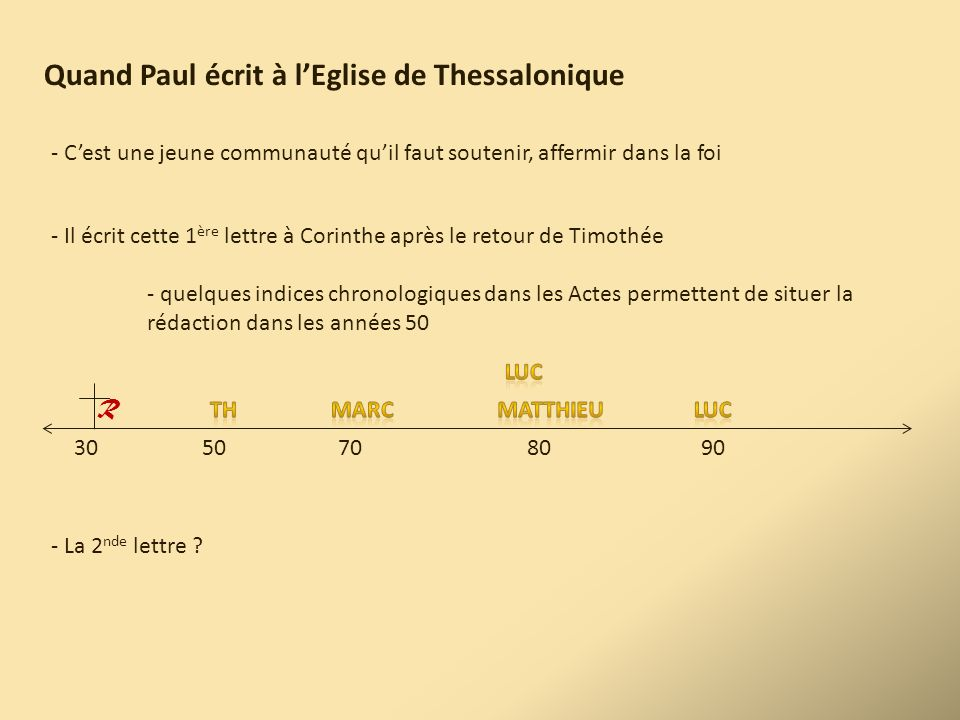 Quand Paul écrit à l'Eglise de Thessalonique - C'est une jeune communauté qu'il faut soutenir, affermir dans la foi - Il écrit cette 1 ère lettre à Co