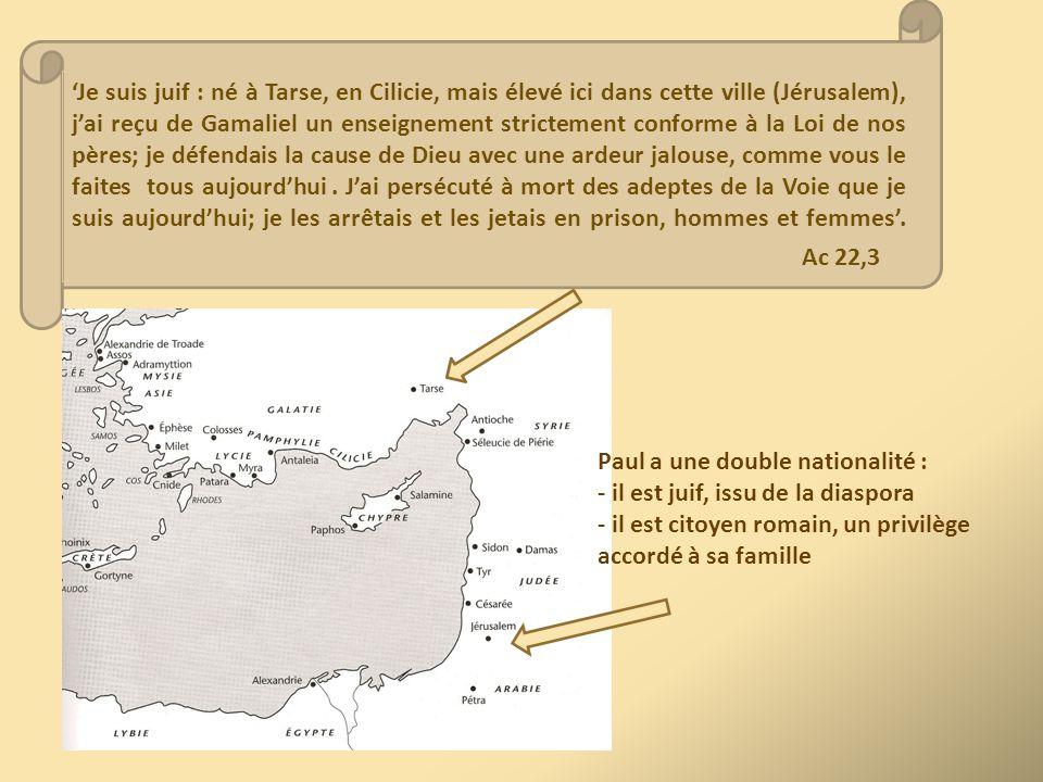 'Je suis juif : né à Tarse, en Cilicie, mais élevé ici dans cette ville (Jérusalem), j'ai reçu de Gamaliel un enseignement strictement conforme à la L