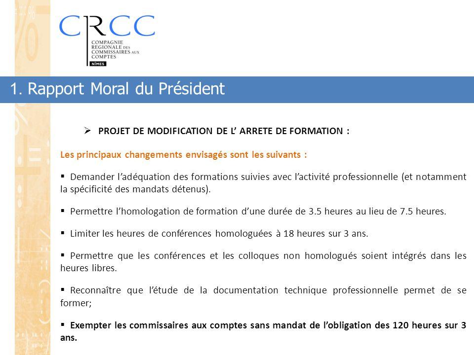 1. Rapport Moral du Président  PROJET DE MODIFICATION DE L' ARRETE DE FORMATION : Les principaux changements envisagés sont les suivants :  Demander
