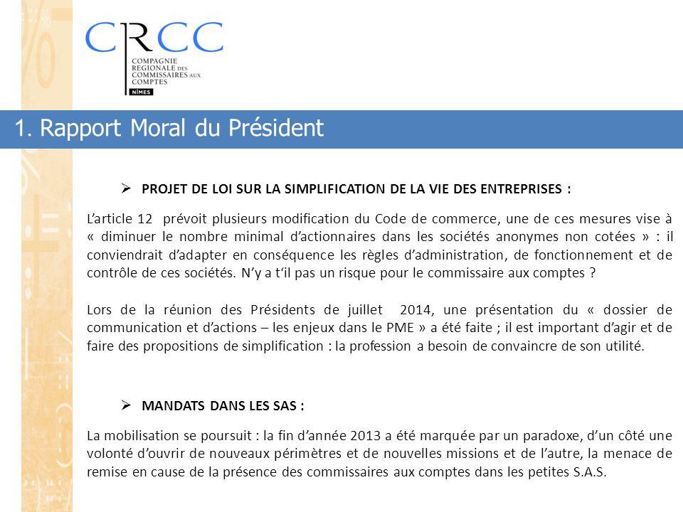 1. Rapport Moral du Président  PROJET DE LOI SUR LA SIMPLIFICATION DE LA VIE DES ENTREPRISES : L'article 12 prévoit plusieurs modification du Code de