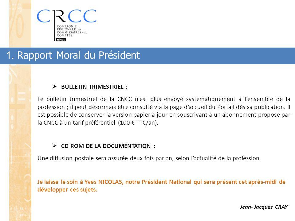1. Rapport Moral du Président  BULLETIN TRIMESTRIEL : Le bulletin trimestriel de la CNCC n'est plus envoyé systématiquement à l'ensemble de la profes
