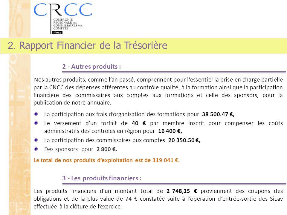 2 - Autres produits : Nos autres produits, comme l'an passé, comprennent pour l'essentiel la prise en charge partielle par la CNCC des dépenses affére