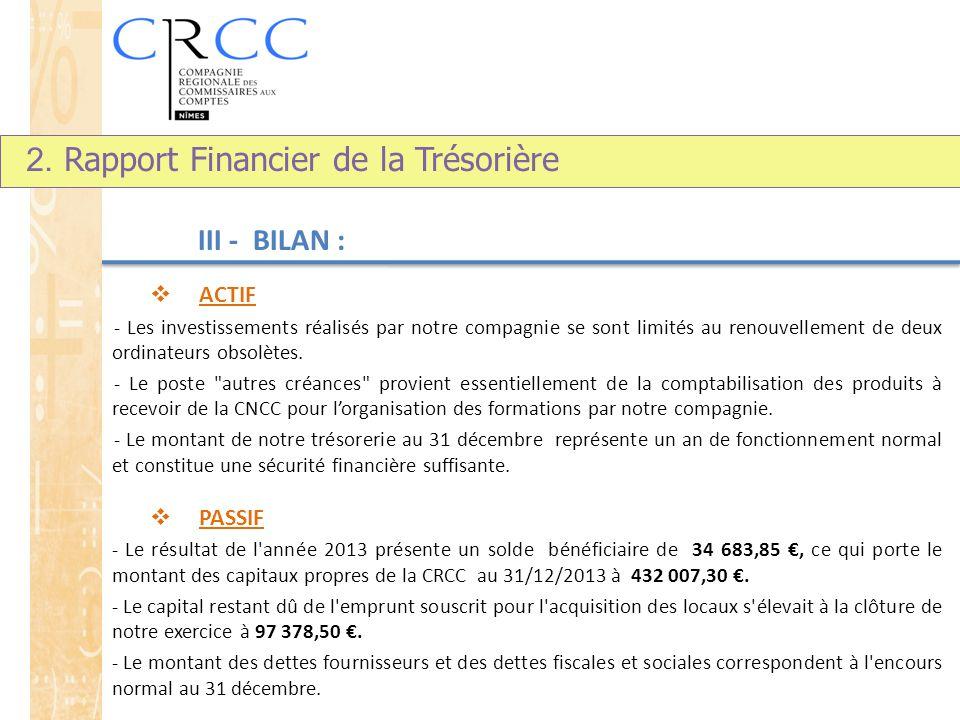 III - BILAN :  ACTIF - Les investissements réalisés par notre compagnie se sont limités au renouvellement de deux ordinateurs obsolètes.