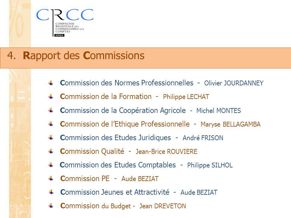 Commission de la Coopération Agricole - Michel MONTES Commission de la Formation - Philippe LECHAT Commission des Normes Professionnelles - Olivier JO