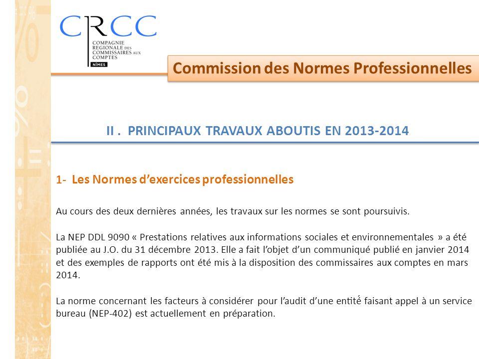 Commission des Normes Professionnelles II. PRINCIPAUX TRAVAUX ABOUTIS EN 2013-2014 1- Les Normes d'exercices professionnelles Au cours des deux derniè
