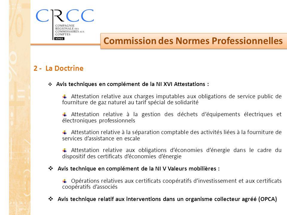 Commission des Normes Professionnelles 2 - La Doctrine  Avis techniques en complément de la NI XVI Attestations : Attestation relative aux charges im