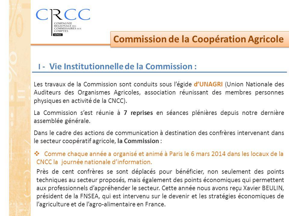Commission de la Coopération Agricole I - Vie Institutionnelle de la Commission : Les travaux de la Commission sont conduits sous l'égide d'UNAGRI (Union Nationale des Auditeurs des Organismes Agricoles, association réunissant des membres personnes physiques en activité de la CNCC).