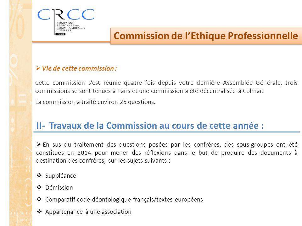 Commission de l'Ethique Professionnelle II- Travaux de la Commission au cours de cette année :  En sus du traitement des questions posées par les con