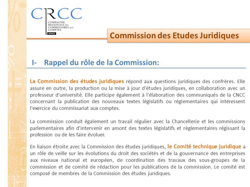 Commission des Etudes Juridiques La Commission des études juridiques répond aux questions juridiques des confrères. Elle assure en outre, la productio
