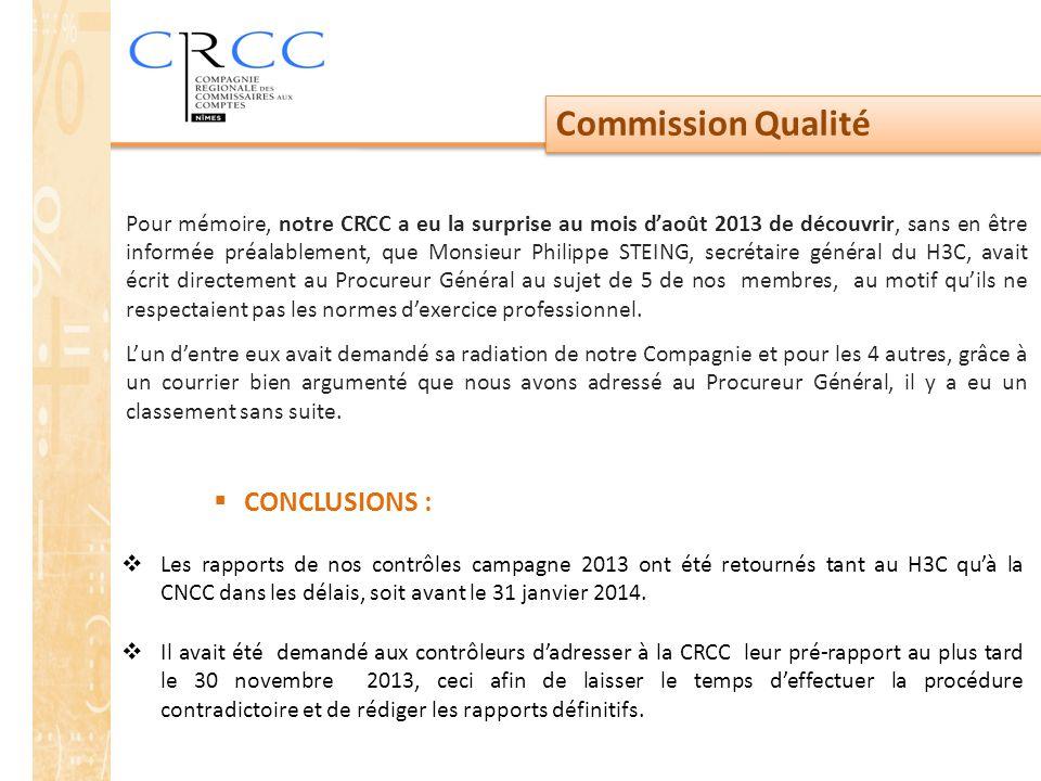 Commission Qualité  CONCLUSIONS :  Les rapports de nos contrôles campagne 2013 ont été retournés tant au H3C qu'à la CNCC dans les délais, soit avant le 31 janvier 2014.
