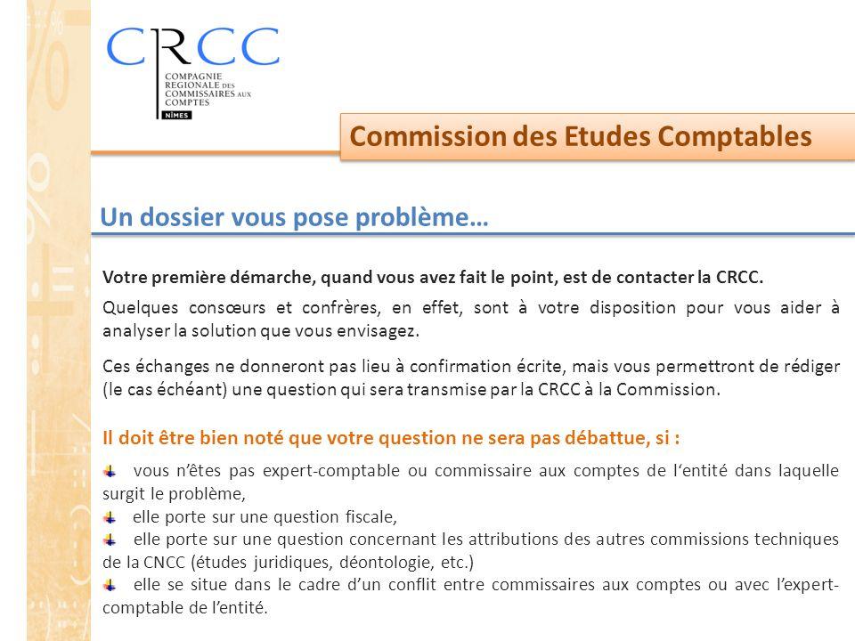 Commission des Etudes Comptables Un dossier vous pose problème… Votre première démarche, quand vous avez fait le point, est de contacter la CRCC. Quel
