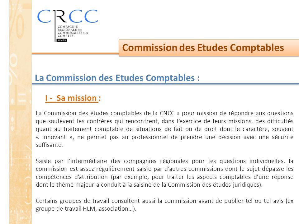 Commission des Etudes Comptables La Commission des Etudes Comptables : La Commission des études comptables de la CNCC a pour mission de répondre aux q