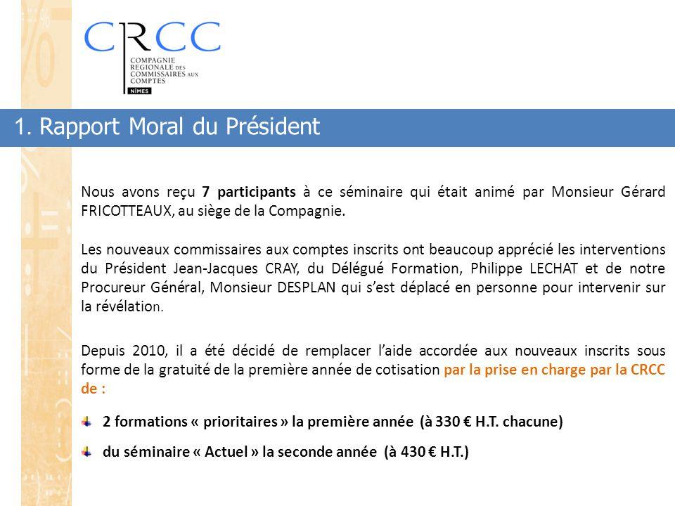 1. Rapport Moral du Président Nous avons reçu 7 participants à ce séminaire qui était animé par Monsieur Gérard FRICOTTEAUX, au siège de la Compagnie.
