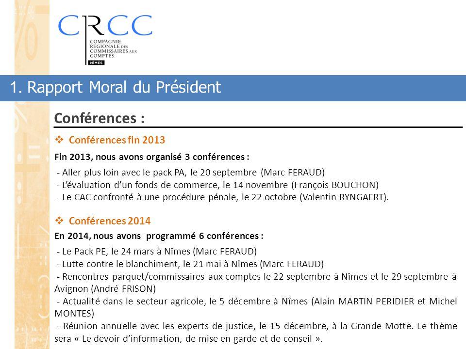 1. Rapport Moral du Président Conférences :  Conférences fin 2013 Fin 2013, nous avons organisé 3 conférences : - Aller plus loin avec le pack PA, le
