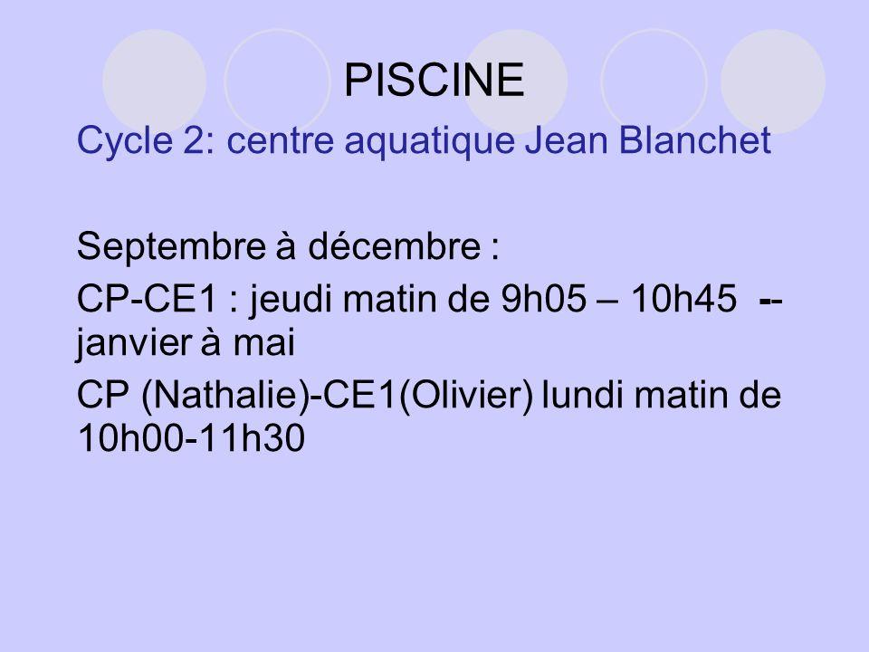 PISCINE Cycle 2: centre aquatique Jean Blanchet Septembre à décembre : CP-CE1 : jeudi matin de 9h05 – 10h45 -- janvier à mai CP (Nathalie)-CE1(Olivier