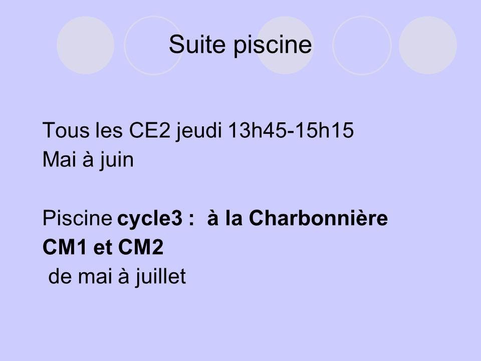 Suite piscine Tous les CE2 jeudi 13h45-15h15 Mai à juin Piscine cycle3 : à la Charbonnière CM1 et CM2 de mai à juillet