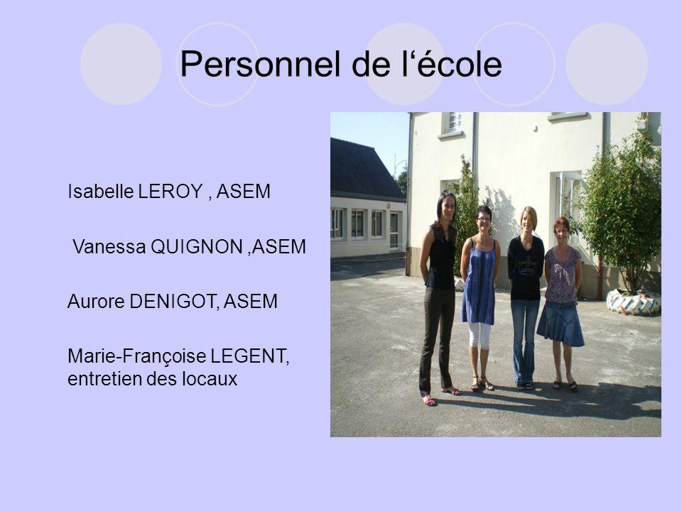 Personnel de l'école Isabelle LEROY, ASEM Vanessa QUIGNON,ASEM Aurore DENIGOT, ASEM Marie-Françoise LEGENT, entretien des locaux