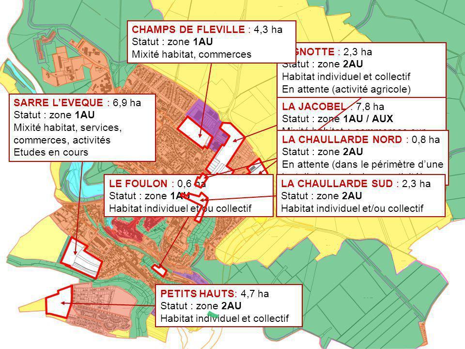 Ville de Briey Révision du Plan Local d'Urbanisme UB UX UA N N A N UC UB N 1AUL SARRE L'EVEQUE : 6,9 ha Statut : zone 1AU Mixité habitat, services, co
