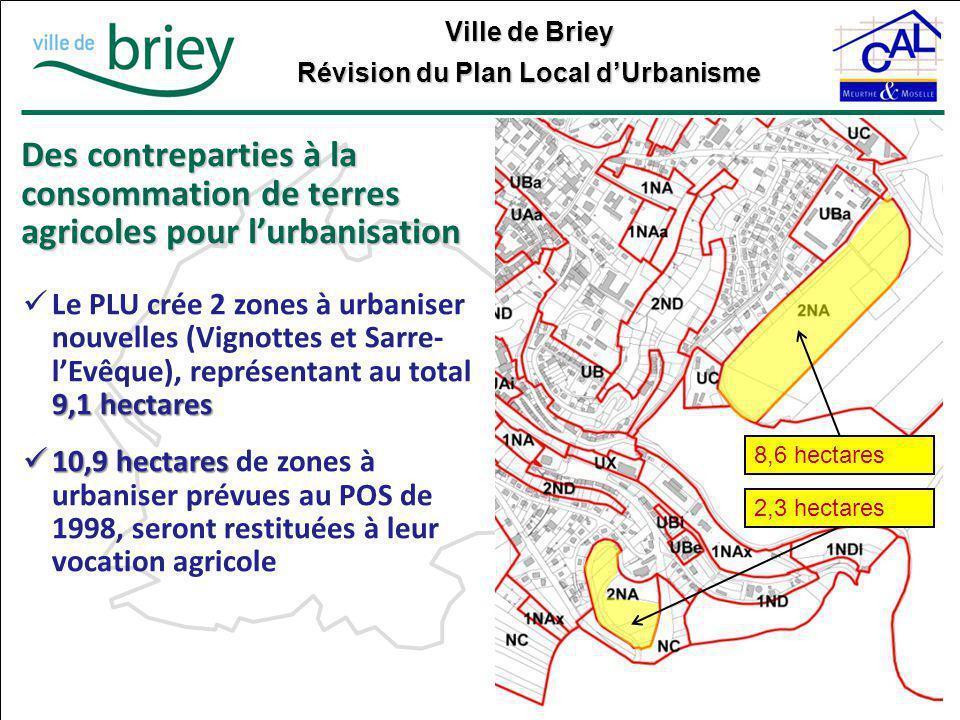 Ville de Briey Révision du Plan Local d'Urbanisme Des contreparties à la consommation de terres agricoles pour l'urbanisation 8,6 hectares 9,1 hectare