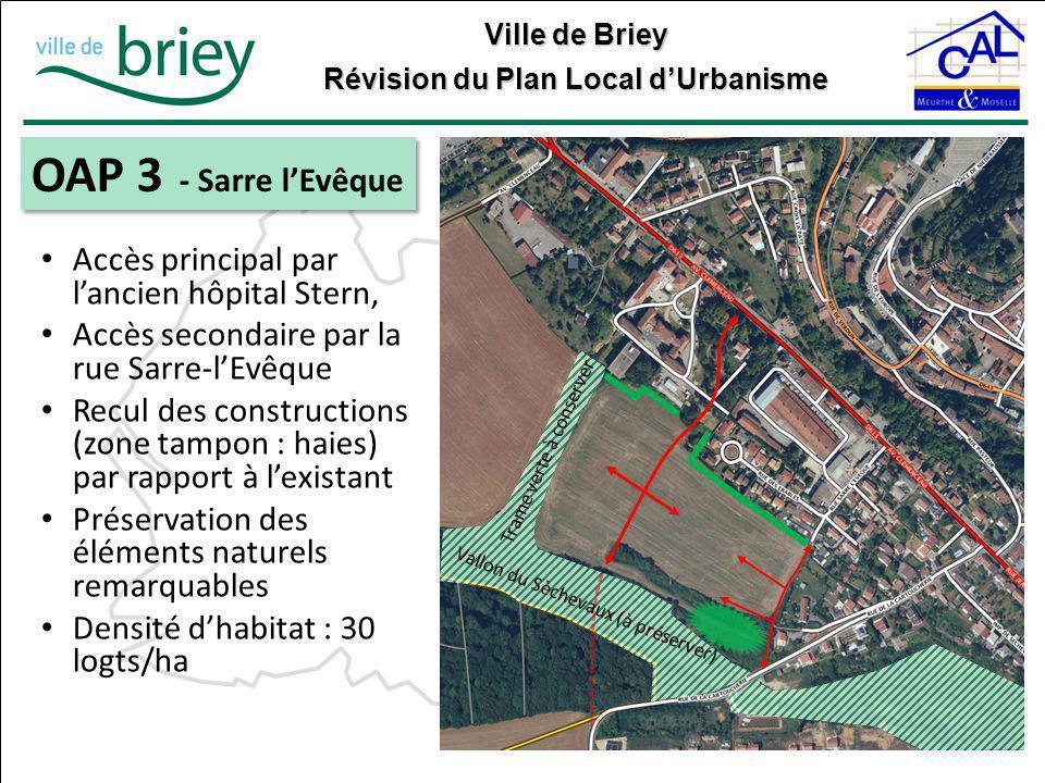 Ville de Briey Révision du Plan Local d'Urbanisme OAP 3 - Sarre l'Evêque Vallon du Sèchevaux (à préserver) Trame verte à conserver Accès principal par