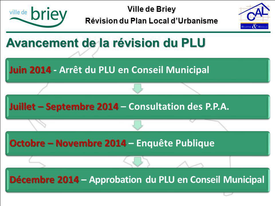 Ville de Briey Révision du Plan Local d'Urbanisme Avancement de la révision du PLU Juin 2014 Juin 2014 - Arrêt du PLU en Conseil Municipal Juillet – S