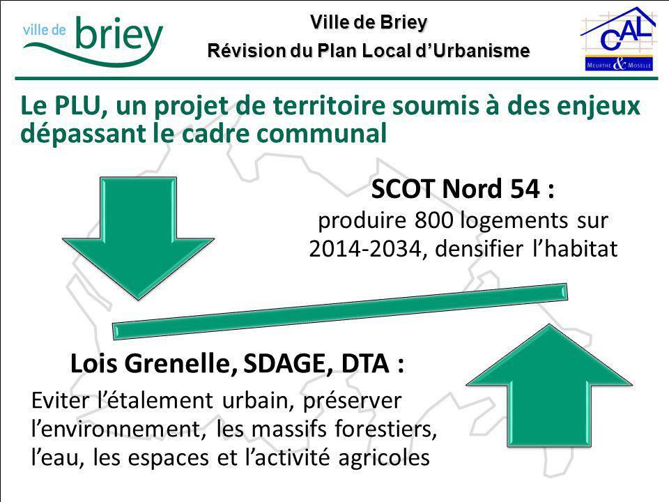 Ville de Briey Révision du Plan Local d'Urbanisme Le PLU, un projet de territoire soumis à des enjeux dépassant le cadre communal SCOT Nord 54 : produ