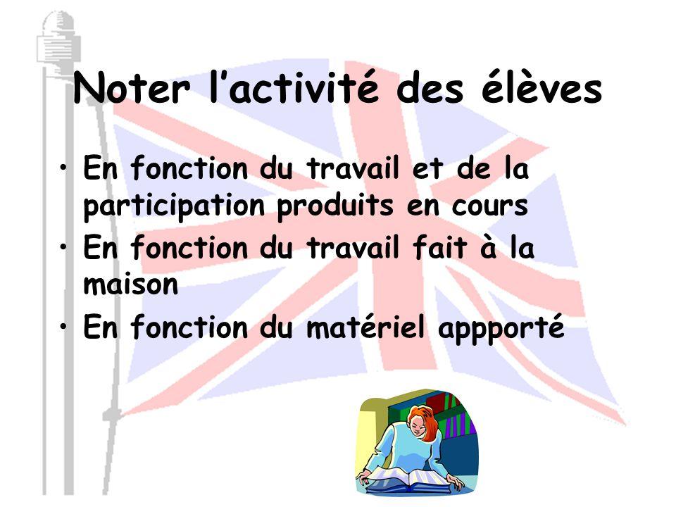 Mise en place d'une NOTE D'ACTIVITE pour les classes d'anglais 2013-2014 D'après le système créé et mis en place par Madame Marie RIVOIRE, professeur