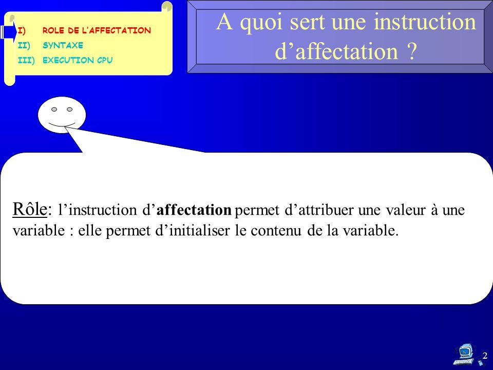 2 A quoi sert une instruction d'affectation ? Rôle: l'instruction d'affectation permet d'attribuer une valeur à une variable : elle permet d'initialis