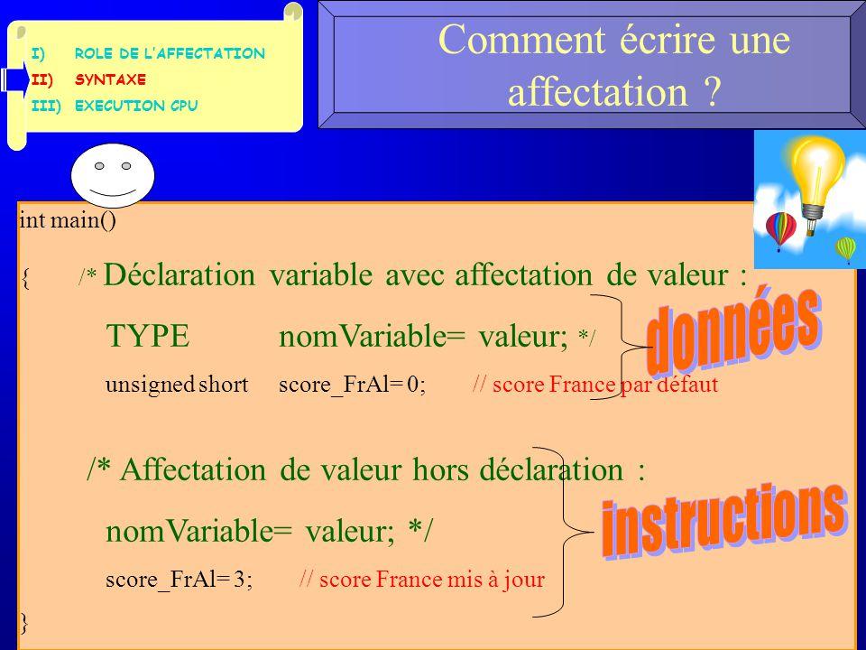 I)ROLE DE L'AFFECTATION II)SYNTAXE III)EXECUTION CPU Comment écrire une affectation ? 3 int main() { /* Déclaration variable avec affectation de valeu