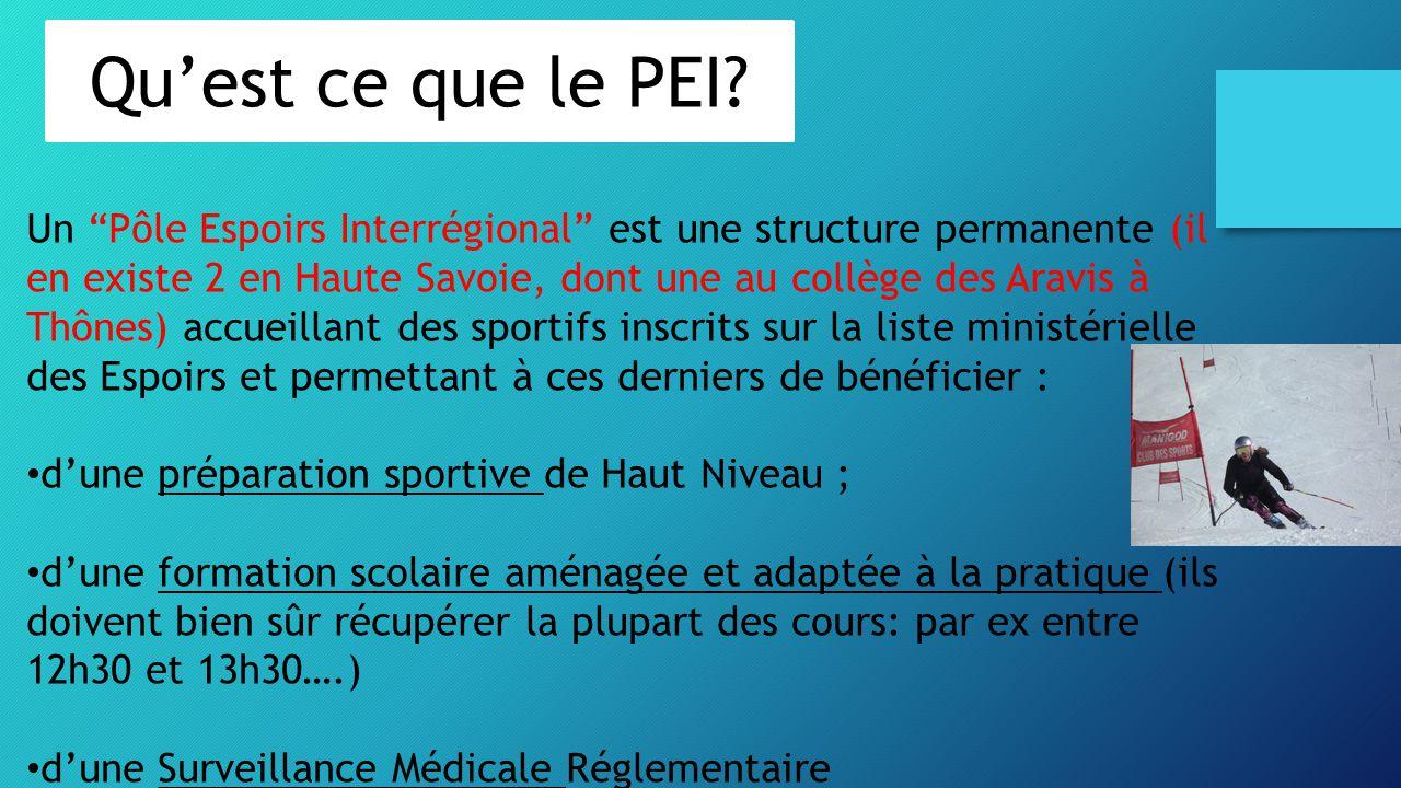 """Un """"Pôle Espoirs Interrégional"""" est une structure permanente (il en existe 2 en Haute Savoie, dont une au collège des Aravis à Thônes) accueillant des"""